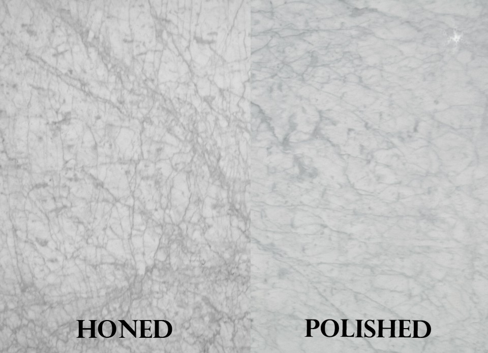 Brushed Finish Marble : White carrara honed and polished lot tropical stone